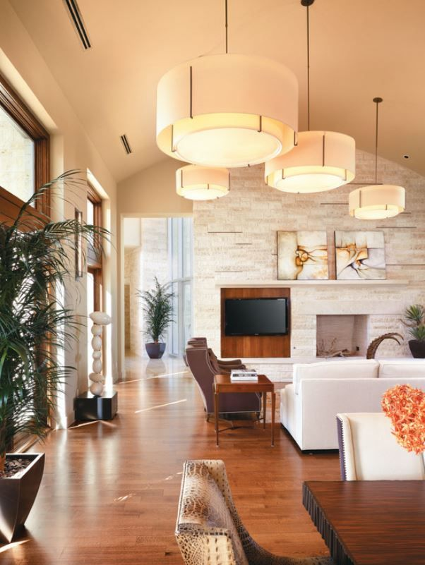 These give a great solution for high vaulted ceilings multiple pendants living room · drum pendant lightspendant lightingdrum