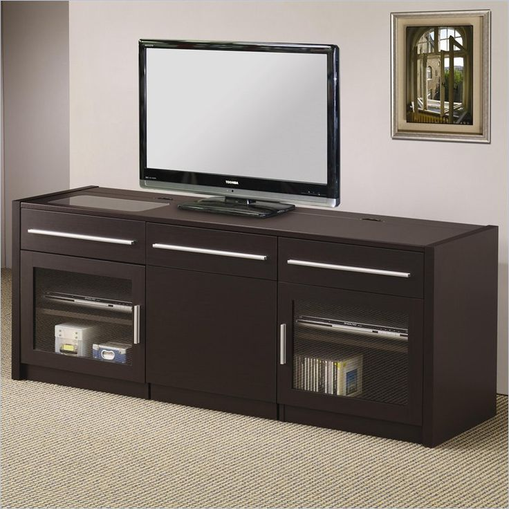 TV Stands Contemporary TV Console With Hidden Mobile Computer Caddy By  Coaster   Furniture Depot   TV Stands