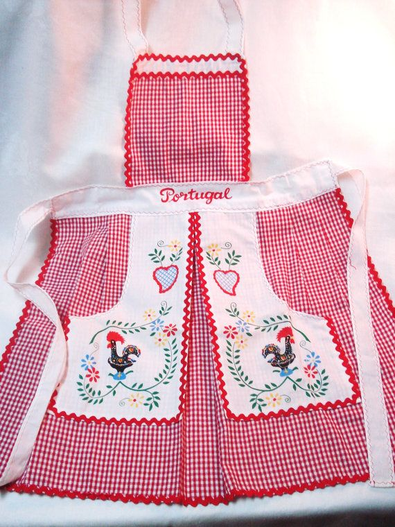 Vintage Linens Bib Apron Barcelos Rooster from by VintageLinens, $32.00