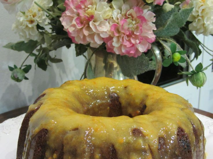 Grand Marnier and Chocolate Chips Bundt Cake with Seville Orange Sauce