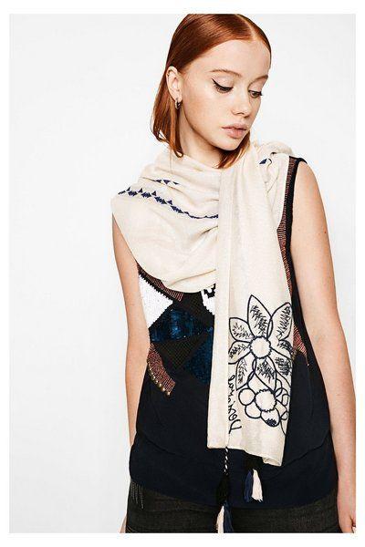 Fular Slim Rectangle Pixie Desigual. ¡Descubre la colección primavera-verano 2017!