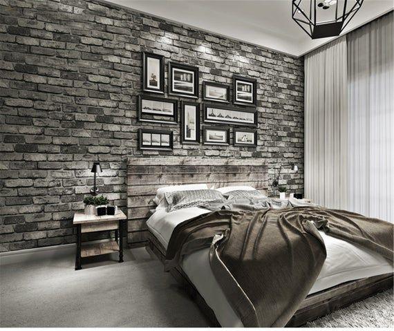 Modern Vintage Brick Textured Wallpaper For Walls Decor Etsy Brick Wallpaper Bedroom Brick Wall Bedroom Brick Bedroom Black brick wallpaper bedroom ideas