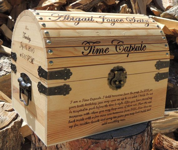 Time Capsule / Keepsake Box Wood Burned Custom by TheCarpentersD