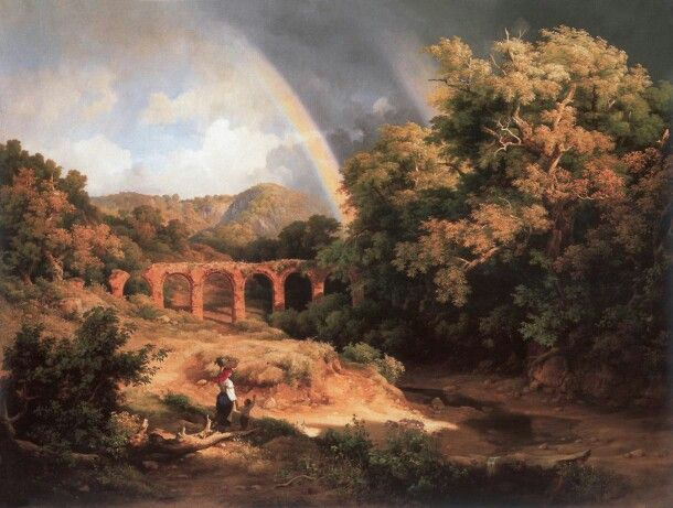 Karoly Marko  Italian landscape with rainbow and viaduct