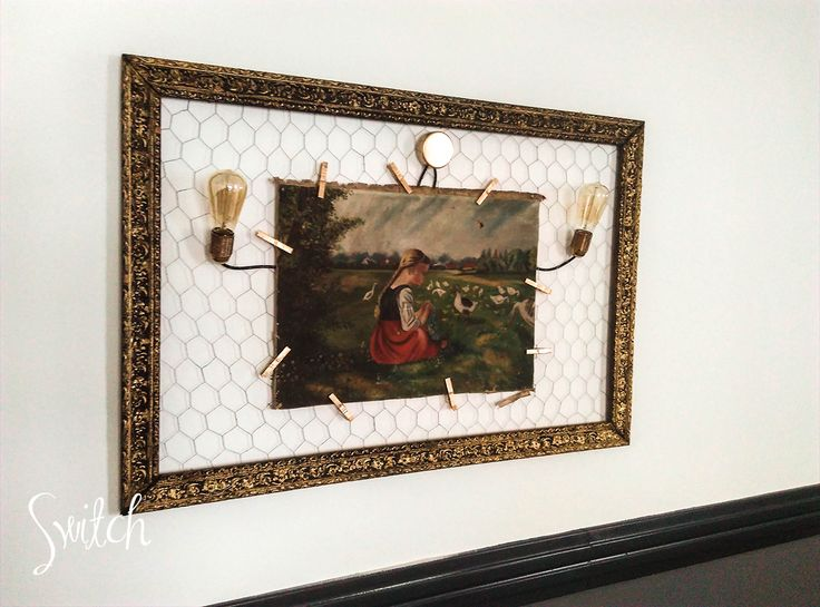 Bulb Edison Style Painting Frame Wall Light. Hanging Paintings With Gold Clothespin.