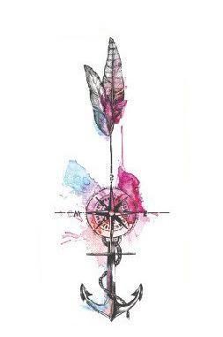 Wayfair Aquarell Kompass Pfeil Anker temporäre Tattoo bei MyBodiArt.com