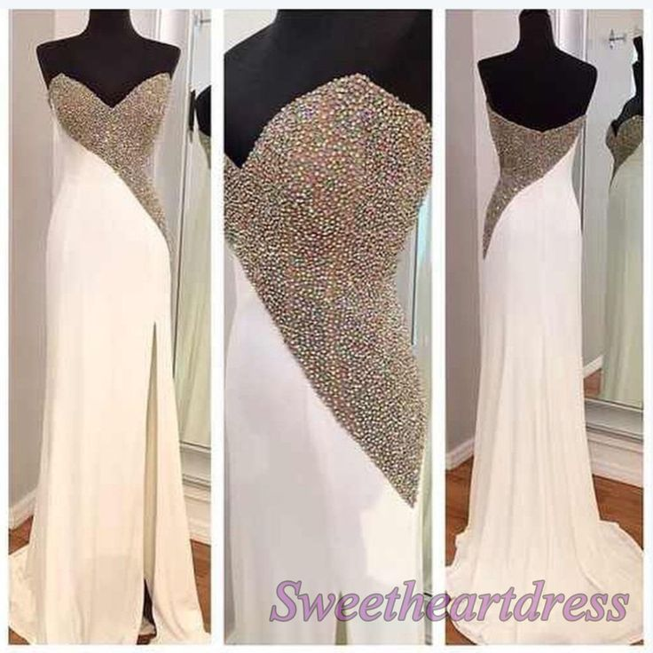 Ball gowns wedding dress, Beaded white chiffon prom dress with slit #coniefox #2016prom