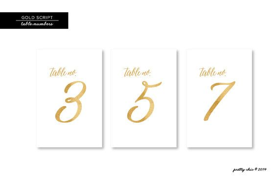Gold Script Table Numbers Wedding Table Decor by prettychicsf