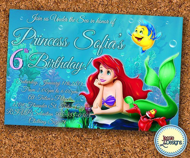 Best Kids Birthday Party Invites Images On Pinterest Kid - Custom ariel birthday invitations