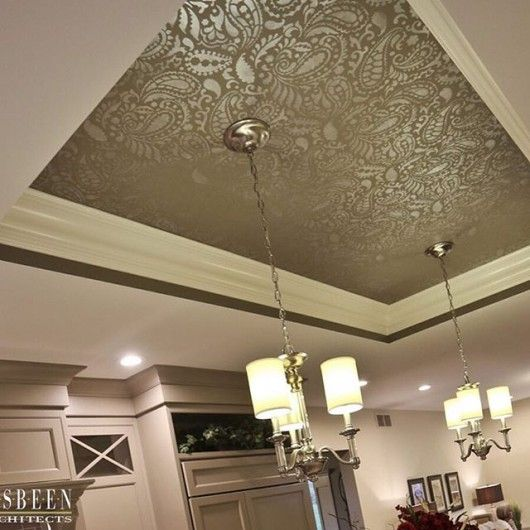 A metallic stenciled ceiling using the Paisley Allover Stencil from Cutting Edge Stencils. http://www.cuttingedgestencils.com/paisley-allover-stencil.html