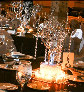 Wedding day theme :  wedding cake candelabras candles crystals flowers inspiration ivory reception silver Crystal Wedding Trees
