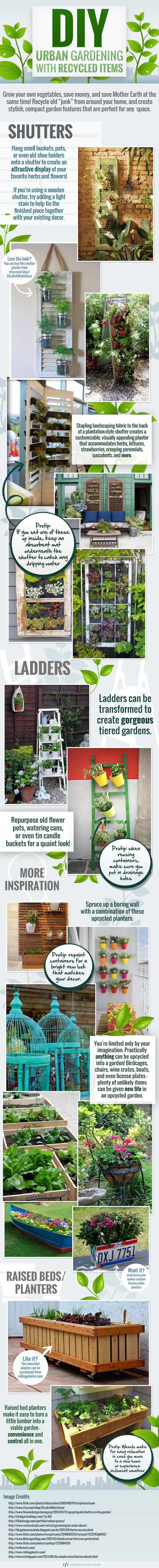 DIY Gardening Ideas with Recycled Items like shutters and ladders! [ infographic ]