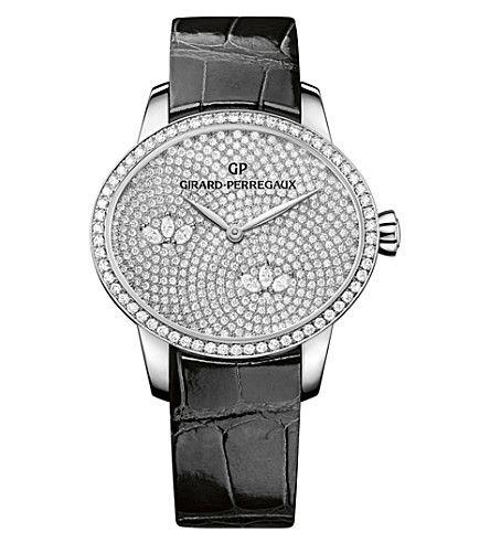 SHOP GIRARD-PERREGAUX 80489D53A1B1-CK6A Cat's Eye alligator-leather and diamond watch