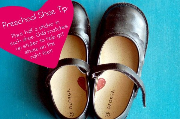 Cut a sticker into two halves and place each half into a shoe: make a heart with the shoes and when they did it they would know which shoes goes on the right foot. It works like a charm!