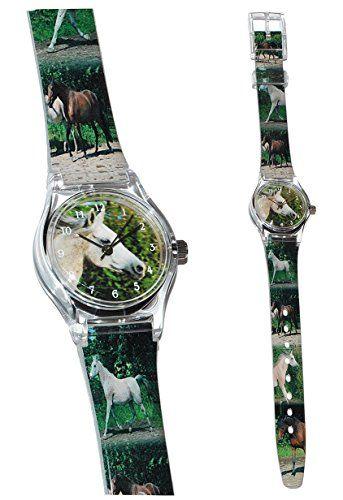 Kinderuhr Pferde - Uhr für Mädchen Kinder Armbanduhr Analog - Stute Schimmel Tiere Tier Pferd Araber weiß - Pferdemotiv Pferdekopf Uhren - http://on-line-kaufen.de/unbekannt/kinderuhr-pferde-uhr-fuer-maedchen-kinder-analog