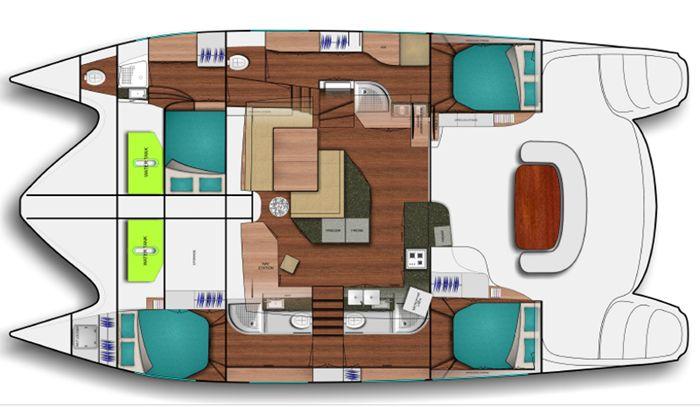 Verfügbarkeit, Preise & Ausstattung der Dean 5000 Owners version ab Red Frog Beach Marina | Segelyacht, Katamaran - 4 Kabinen - 8 Kojen - 4 Nasszellen | Panama