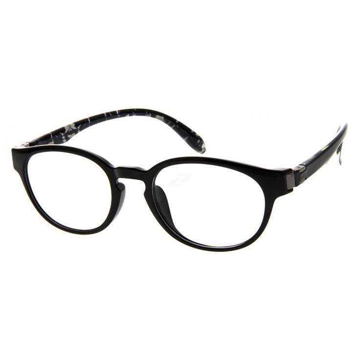 Full-rim horn-rimmed glasses made of flexible plastic. A classic design popularized by Wayfarer.