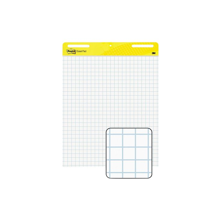 Post-it 25 x 30 Easel Pads Self-Stick Easel Pads, Quad Rule- White (2 30-Sheet Pads per Carton)