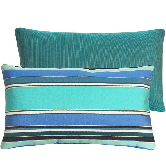 sunbrella outdoor turquoise blue pillow by