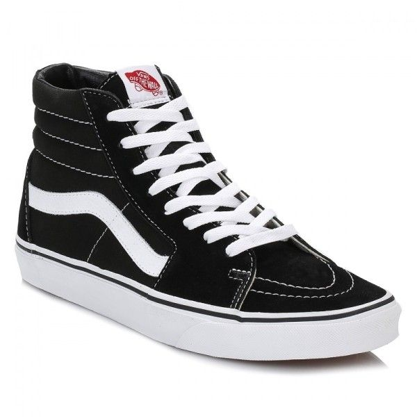 SK 8 Hi Top Black Suede Trainers (91 CAD) ❤ liked on Polyvore featuring shoes, sneakers, vans shoes, black sneakers, vans high tops, suede high top sneakers and skate shoes