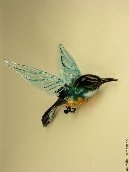 Новый год 2016 ручной работы. Ярмарка Мастеров - ручная работа. Купить Подвесная фигурка  из цветного стекла Птица Малиновка Vaarika. Handmade.