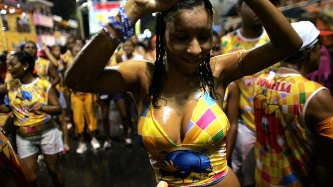 WATCHTOWERBrazils Disney World Of Sex Erotika Land Sparks Intense Debate  A woman dances through the streets during Carnival on February 8 2005 in Salvador Brazil. Centuries of slave trade with Central and West Africa has left 40 million people of African descent in Brazil concentrated particularly in and around the city of Salvador on the northeast coast. The Carnival in Salvador which lasts one week in the month of February is one of the largest manifestations of Afro-Brazilian dance and…