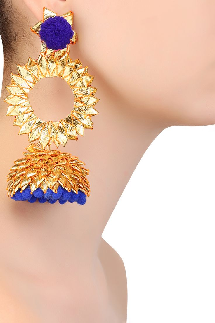 Aprajita Toor presents Golden and blue pom pom detail jhumki earrings available only at Pernia's Pop Up Shop.
