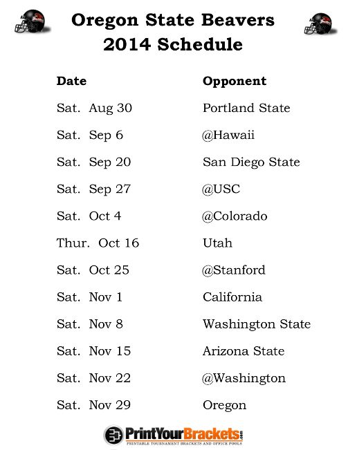 Printable Oregon State Beavers Football Schedule 2014