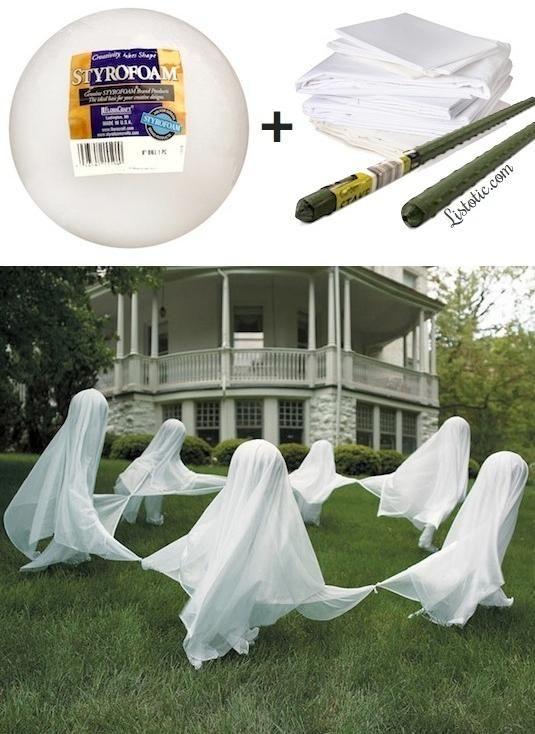 halloween deko idee garten gespenster tanzen kreis