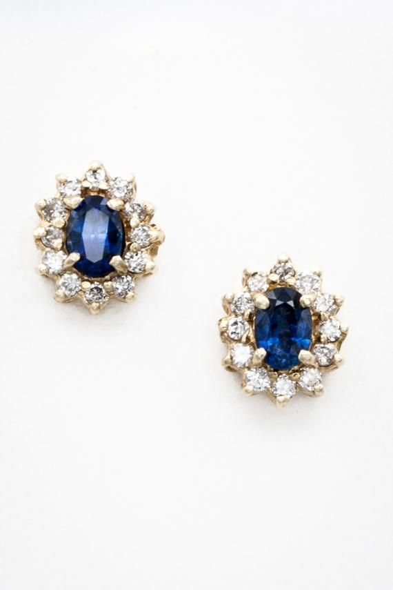 Classic 14k Yellow Gold Ceylon Sapphire And Diamond Stud Halo Etsy Sapphire Earrings Studs Blue Sapphire Jewelry Blue Bridal Earrings