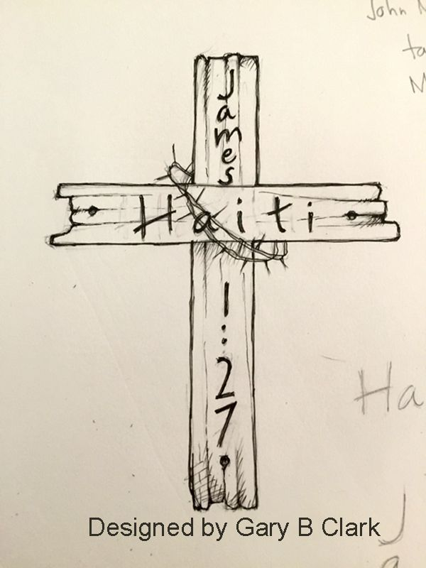 Haiti tattoo on old rugged cross with James 1:27 and crown of thorns