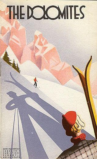 Vintage Ski Poster Ad 'Dolomites' 1930's