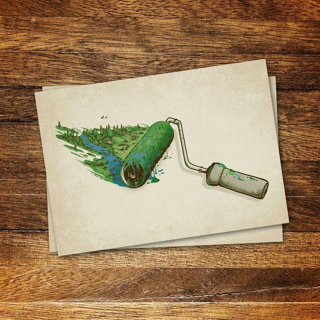 Illustrationen - Nature Painter – Postkarte - ein Designerstück von Robert-Richter bei DaWanda