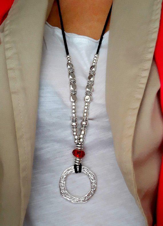 2108978b3708 Collar largo de plata para mujeres Eyerglases lazo collar   Etsy ...
