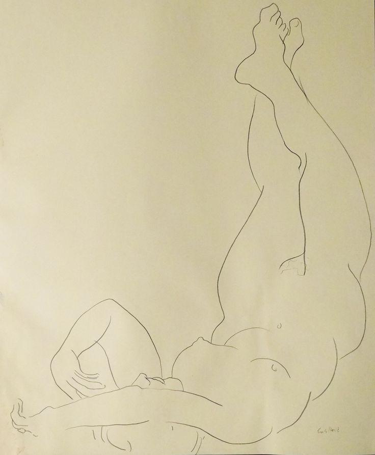 "Nude Figure III, crayon on cream - colored paper, 24"" x 19"", $1,800, http://transformgallery.com/wayne-ensrud/"
