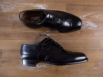 auth MORESCHI black wingtips leather shoes -Size 7 US / 6 UK / 40 EU