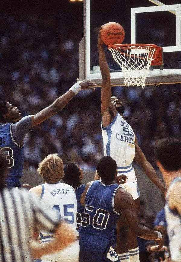 James Worthy Dunks Over Patrick Ewing