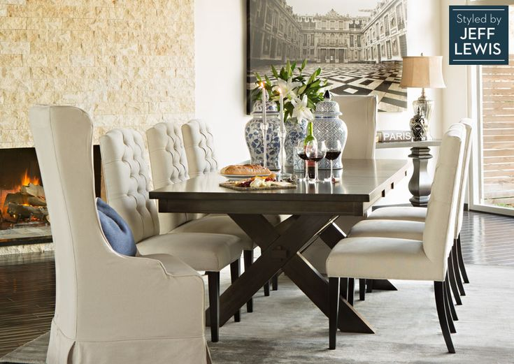 Dining Room Living Spaces Laidback Luxury styled by Jeff Lewis Dining Table Wingback Chair Side Chair TOTAL 2 Pinterest
