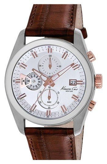 Kenneth Cole New York Chronograph Leather Strap Watch, 44mm at Nordstrom.com