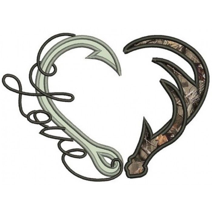 Fishing Hooks with Antlers Hunting Love Applique machine embroidery digitized design pattern - Instant Download -4x4 , 5x7, and 6x10 hoops