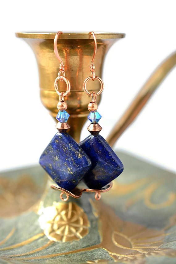 Lapis Lazuli Earring  Blue Gem Earrings  Crystal Earrings
