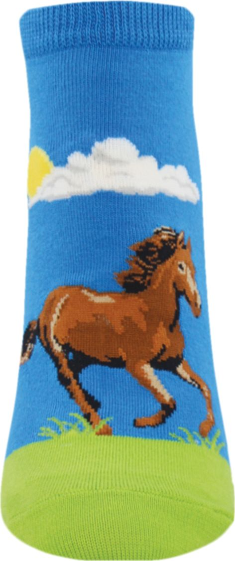 The sky is blue and the sun is shining - it's a perfect day for horseback riding or just hanging out in the pasture with your best four-legged friend. Women's ankle socks fit women's shoe sizes.