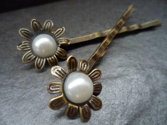2 Haarklemmen Haarspangen  mit Cabochon Blume