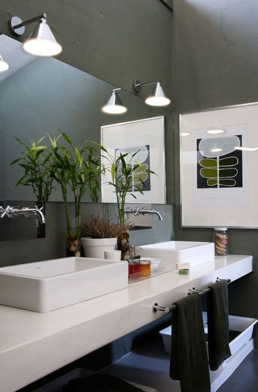 Contemporary Master Bathroom with Vessel sink, Ronbow rectangle ceramic vessel bathroom sink without overflow, Double sink