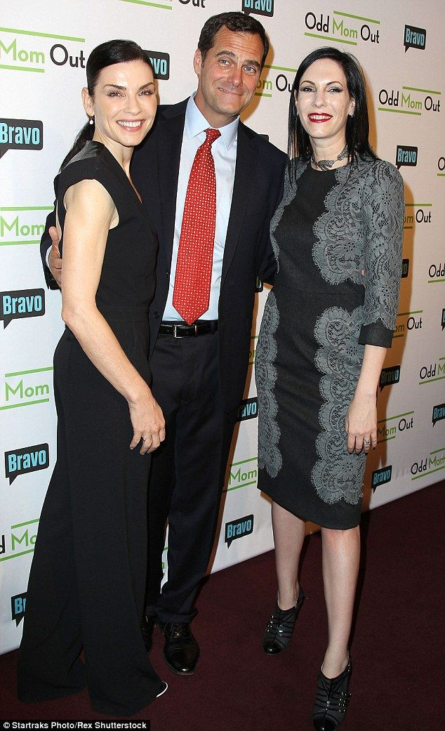 Coming soon: Julianna posed alongside two of the show's stars Andy Buckley and Jill Kargman