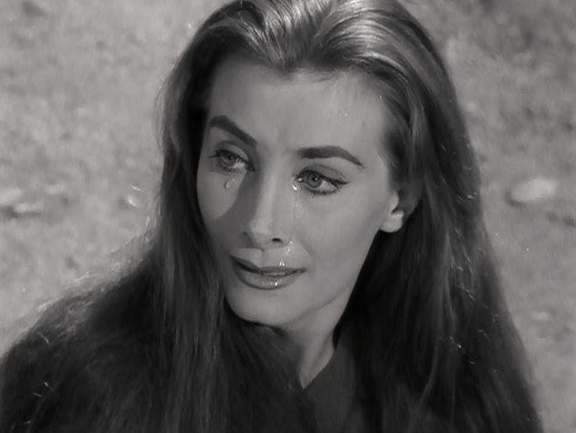 """Jean Marsh, as Alicia, a very lifelike android who kept an inmate sentenced to solitary confinement on a distant asteroid company, until he was pardoned and forced to leave her behind (The Twilight Zone: """"The Lonely"""", 1959)"""