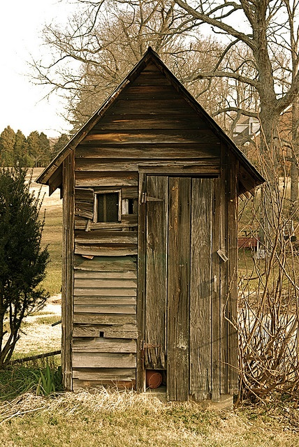 Outhouse.  Girls, my McCoy grandparents never had indoor plumbing, but their outhouse was never this fancy!!!  I used it many times.  It was a 2 seater, and yes, we used Sears  & Roebuck catalogs as toilet paper!! We've come a long way Baby!