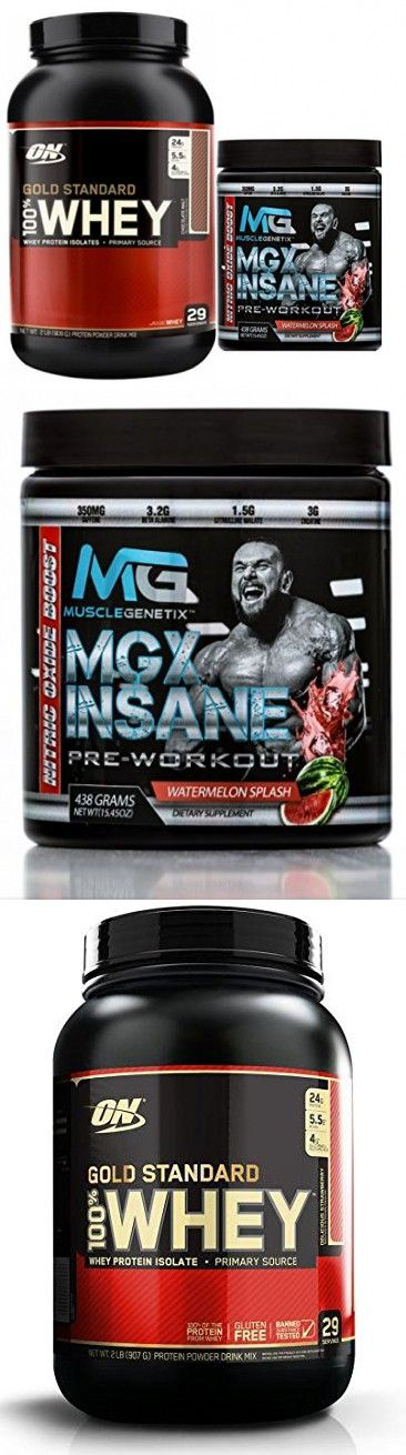 Gold Standard 100% Whey Protein, 2lb, Delicious Strawberry + MGX Insane Pre-Workout Energy & Endurances booster, 438 Grams Watermelon