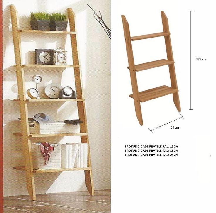 estante escada prateleira armário mdf cru