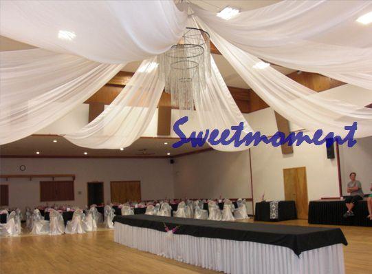 Goedkope , koop rechtstreeks van Chinese leveranciers:  bruiloft plafond luifel 10 stuks laken gordijnen stof voor bruiloft decoratie( er is totaal 100m lang plafond laken, we normaal gesproken maken het 0.70m breed x 10m lang voor elke, als u nog a